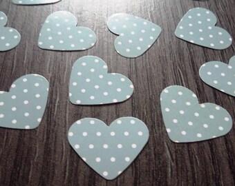 Confettis de table x 100 coeurs gris/blanc