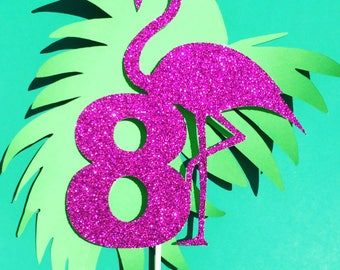 Flamingo cake topper, can be customized with age, name, any color, any number, flamingo party supply, tropical decor