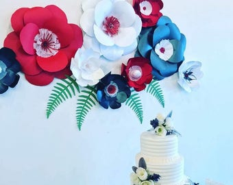 Paper flowers red wall decor black paper flowers red paper flowers red wall backdrop red wedding backdrop dining room decor red party decor
