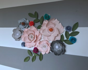 Paper flower wall decor blush paper flower hot pink flower bright orange flower nursery room gray flower copper paper flower metallic decor