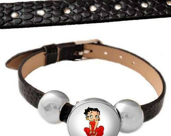 black faux leather with betty bracelet