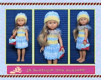 Skirt + top + hat + bag for dolls sweethearts of 32/33 cm