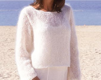 Woman alpaca sweater, Knitted DROPS jumper in Alpaca, Wool, woman sweater, gift for her