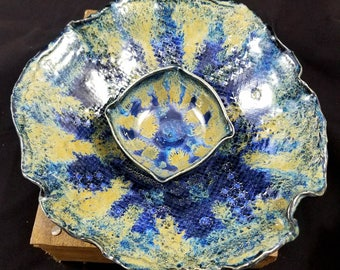 Blue Ceramic Serving Bowl Set, Chip and Dip, Ceramic Bowl, Pottery Bowl, Large Pottery Bowl, Blue Pottery Bowl, Fruit Bowl, Doily Pottery
