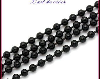 1 meter string balls Metal Black - 2 mm black beads