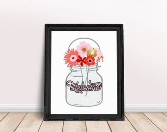 Welcome Sign Floral Jar | Housewarming Gift, Hallway Wall Art, Home Decor, Floral Jar Welcome Sign, Immediate Download, Printable Poster