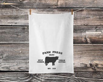 Farm Fresh - Cotton Tea Towel - Farm Fresh Decor - Kitchen Decor - Hand Drying Cloth