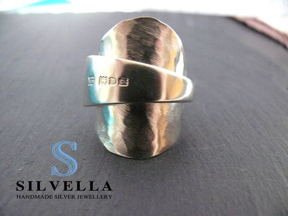 Spoon Ring - Sterling Silver Spoon Ring - Hammered Texture - Hallmarked 1910 London - Handmade in Wales - Silvella Jewellery
