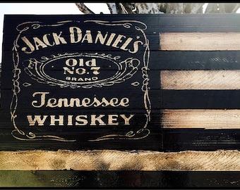 Jack Daniels,  Jack Daniels Flag, Wooden Jack Daniels Sign, Whiskey Sign, Bar Sign, Rustic Jack Daniels, American Flag, Rustic Wood Flag
