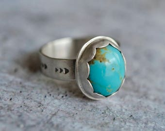 Turquoise Ring Sterling Silver | Sterling Silver Ring | Organic Jewelry | Trendy Designs | Everyday Silver Ring | Mom Gift