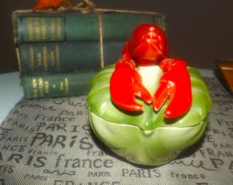 Mid-century modern (c.1955) Brad Keeler #870 covered figural hand-painted lobster dish | bowl. Fabulous! Made in USA.