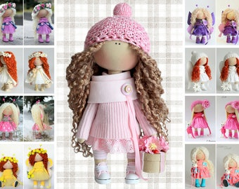 Textile doll Handmade doll Fabric doll Tilda doll Rose doll Soft doll Cloth doll Collectable doll Rag doll Interior doll by Master Olga P