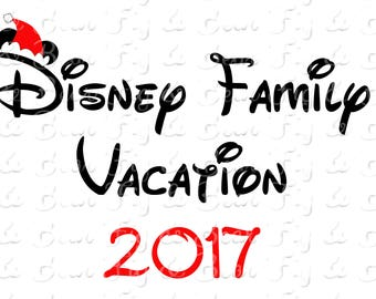Disney Family Vacation Christmas Shirts Mickey Mouse Santa Hat 2017 Iron On Transfer Decal Personalized Free