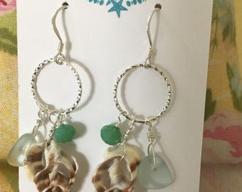 Seashell earrings with sea glass and beads