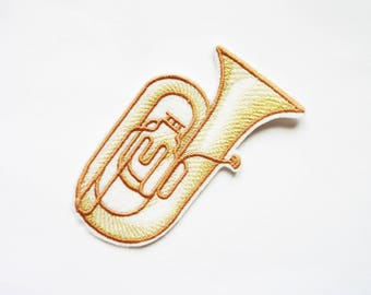Embroidery of a tuba badge patch embroidered patch