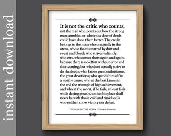 The Man In The Arena, Printable quote, Boss's Day gift, Graduation gift, Roosevelt quote, inspirational quote, history gift, gift for him