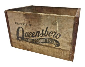 Vintage Primitive Wood Box ADVERTISING wooden shipping QUEENSBORO NYC milk crate new york city queens toy storage loft decor