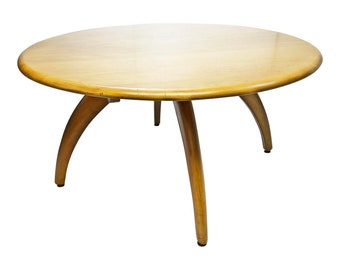 Mid Century Modern HEYWOOD WAKEFIELD Lazy Susan Coffee Table wishbone wood vintage blonde 50s 60s wheat living room round rotating revolving