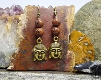 Jasper Buddha Earrings