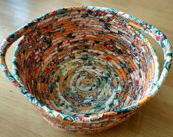 "Coiled fabric basket ""Autumn"""