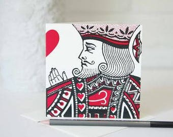 King Of Hearts Card by VINTAGE PLAYING CARDS