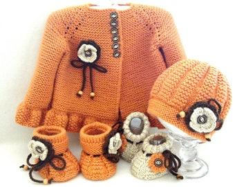 Crochet Baby Set Knitted Baby Girl Cardigan Crochet Baby Jacket Baby Girl Coat Crochet Baby Shoes Knitted Baby Booties Baby Hat Baby Shower