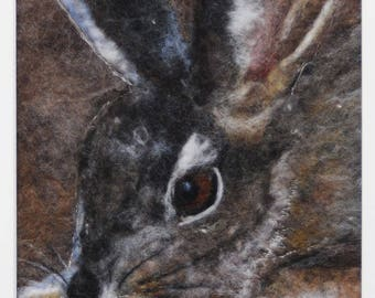 felted hare painting