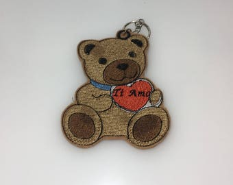 Embroidered key ring, teddy bear with customible heart, gift idea for Valentine's day, party decorations, gift idea for him and her