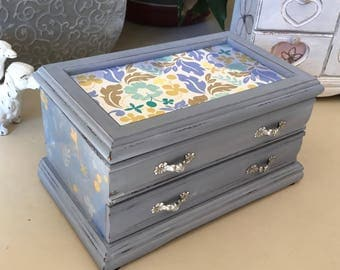 Vintage Wooden Jewelry Box Shabby Chic Painted Jewelry Chest