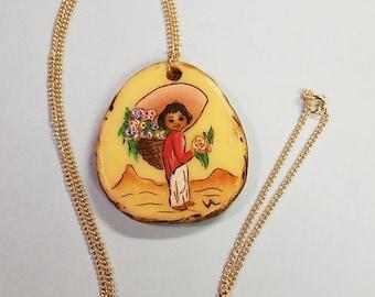 Vintage Composite Hispanic Flower seller necklace, Flower seller pendant