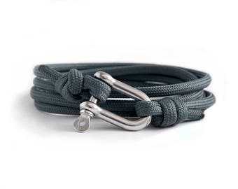 Shackle Bracelet, Charcoal Grey & Silver, Sailing Rope Bracelet, Mens Bracelet, Nautical Jewellery.