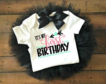 first birthday outfit girl, first birthday bodysuit, first birthday shirt, baby boy first birthday, happy birthday bodysuit, its my first