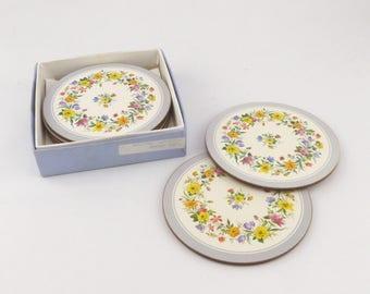 Six Pimpernel Floral Garland Coasters in Original Box - Round Shape Satin Finish - Vintage Home Decoration - Housewarming - Table Decoration