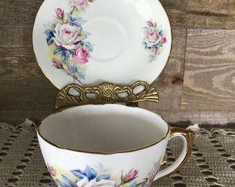 Vintage Delphine Tea Cup and Saucer White and Pink Rose