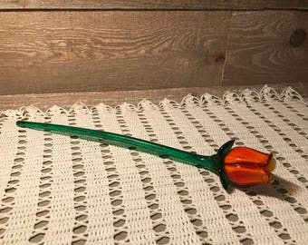 Glass Handmade Vintage Long Steamed Rose Orange