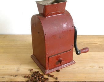 Vintage coffee grinder red Tix Swedish coffee mill rare.collectible.Farmhouse decor.gift coffee lover.country kitchen
