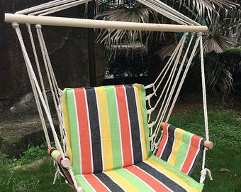 Colorful Indoor Outdoor Hanging Rope Hammock Chair Swing Seat Multi Color