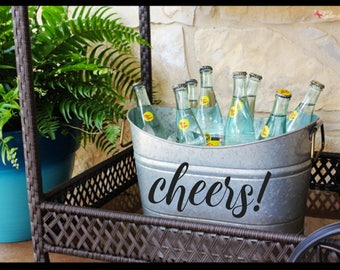 Personalized Oval Beverage Bucket Tub with Handles, Galvanized Steel, Rustic Farmhouse Decor, Wedding or Anniversary Gift