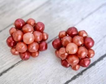 Vintage Red Beaded Cluster Earrings
