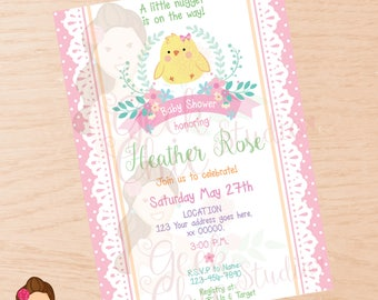 Baby Shower, Baby Shower invite, Baby Shower invitation, Girl Baby Shower, Girl Baby Shower invitation, Chick baby shower, Chick invitation.