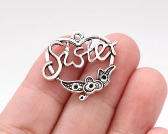 6 Pcs Sister Charms Family Charms Pendants Antique Silver Tone 24x25mm - YD0373