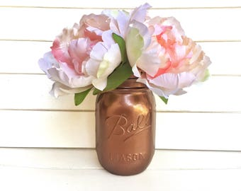Flower Pen Set - Rose Gold Mason Jar with Light Peach Nude Blush Peony Flower Pens Distressed Rustic Shabby Chic Gift for Her