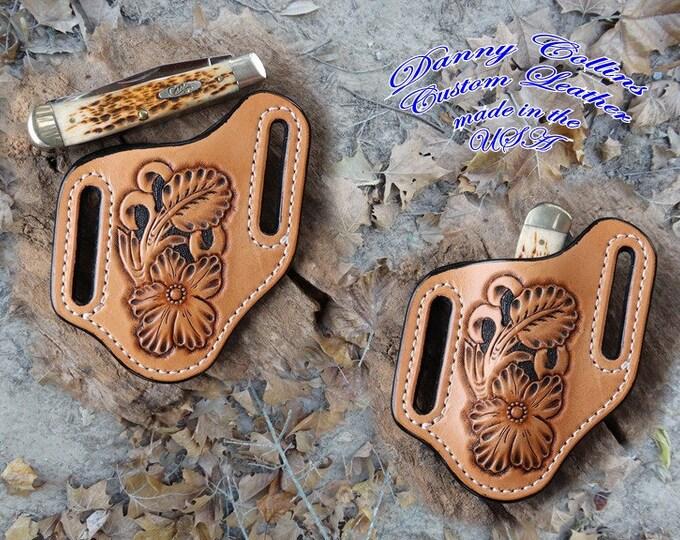 Hand Tooled Knife Sheath, Case Trapper Sheath, Custom Knife Sheath