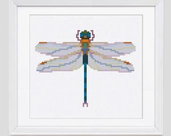 Dragon Fly Modern Cross Stitch Pattern instant download PDF | Dragonfly cross stitch pattern from