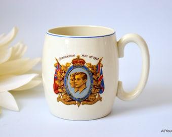 Coronation Memorial Mug, Vintage Collectibles, British Royal Family, Collectors Mug, Vintage Tableware, Royal Memorabilia, c 1930 s