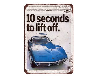 "1968 Chevrolet Corvette Sting Ray - Vintage Look Reproduction 2 9"" X 12"" Metal Sign"