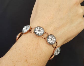 Black and White flower Bracelet in Copper Setting   Flower Jewelry Nature Jewelry Photo Jewelry Photo Bracelet Nature Photography