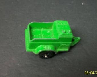 """Tootsietoy  Small Green Trailer Pressed Steel - Lots of Paint Chips Needs Restoration 2.5"""" long"""