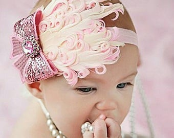 Light Pink Feather and Bow Headband