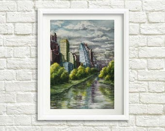 Gift for husband gift for him New York art Landscape painting Watercolor painting New York skyline painting New York City skyline art decor